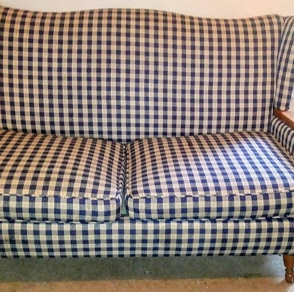 Surprising Blue And White Checkered Print Couch Theyellowbook Wood Chair Design Ideas Theyellowbookinfo